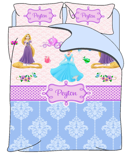 Custom Duvet Cover - Various Inspired PRINCESS Bedding - Personalized with Your Little Princess' Name- Twin or Queen Size