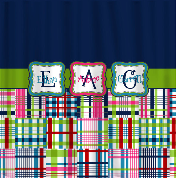 Custom Personalized Madras Plaid and Solid Shower Curtain  - Std or ExLong and coordinated towels available