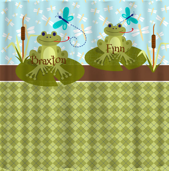 Personalized Shared  RIBBIT Frog Shower Curtain featuring Frogs on Lily Pads