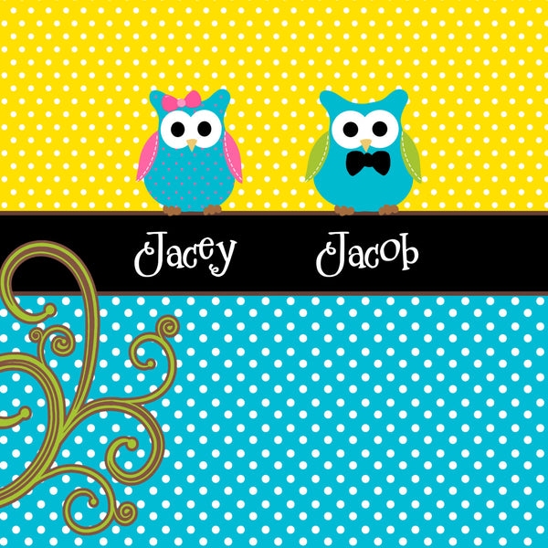 Personalized Shared Shower Curtains featuring Owl Friends - SPECIAL colors YOUR Choice