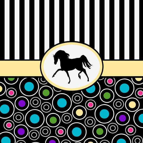 Personalized Shower Curtain -Mod -black and white stripes and black horse.