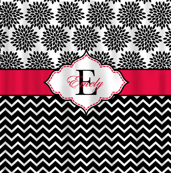 NEW!! Diva Collection Personalized Shower Curtain B&W -Top floral - bottom chevron with a bright pink accent.