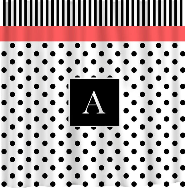 NEW!! Diva Collection Personalized Shower Curtain B&W -Top stripes - bottom dots with coral accent.