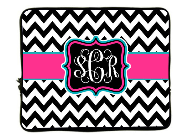 "Personalized Monogram Designer Style Laptop Sleeves - Chevron Black- white with hot pink-turquoise - 13""and 17"""