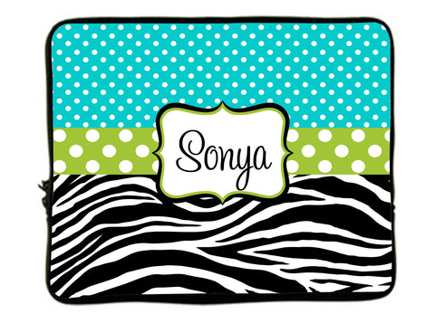 "Personalized Monogram Laptop Sleeves -Turquoise mini dots-Zebra Combo- accent lime green dots - 13"" and 17 inch"