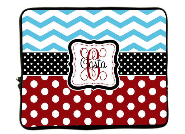 "Personalized Monogram Designer Style Laptop Sleeves -Blue Chevron-Red Polka dot-Black Accent -13"" & 17 inches"