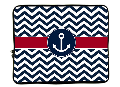 "Personalized Monogram Designer Style Laptop Sleeves -Navy Chevron-Anchor_Various colors Accent - 13"" and 17"""