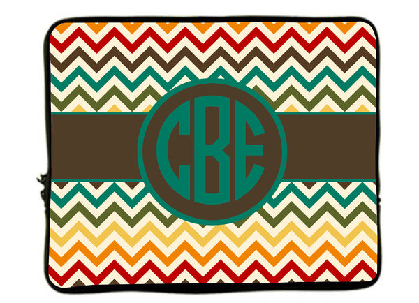 "Personalized Monogram Designer Style Laptop Sleeves -Multi Warm Chevron with Brown Accent - 13"" & 17"""
