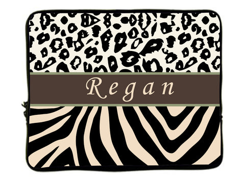 "Personalized Monogram Designer Style Laptop Sleeves -Cheetah And Zebra Combo - 13"" and 17"""