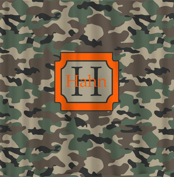 Personalized Camouflage Army Green Hunting Inspired Shower Curtain