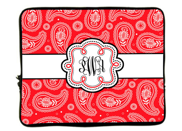 Personalized Monogram Designer Style Laptop Sleeves - Paisley Any Color Accent 13 Inch and 17""