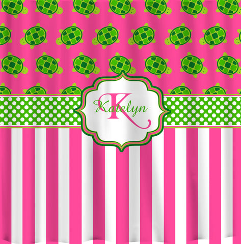 Personalized  Modern Turtles & Stripe  Shower Curtain - Hot Pink with Lime- Hot Pink Turtles -available any color - add Monogram
