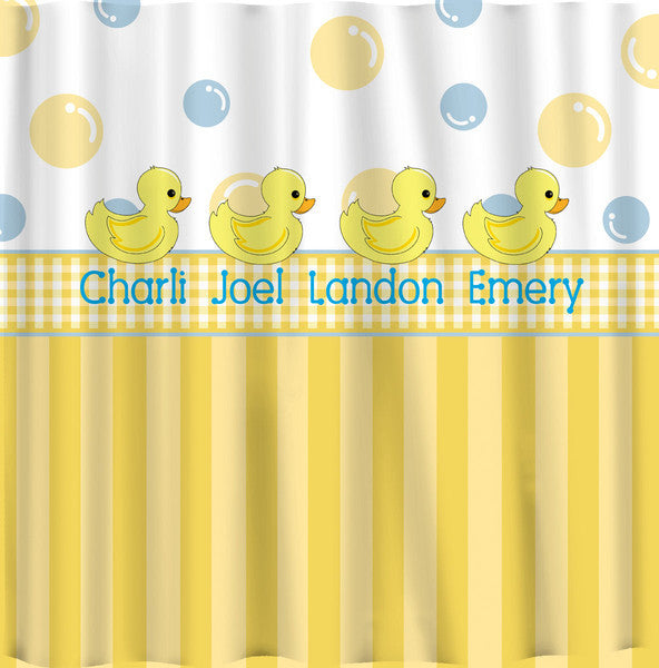 Bubbles and Stripes Duck accent with Personalization