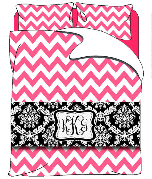Custom Personalized Bed Runner - Scarf - Black & White Damask - 3 bedding sizes