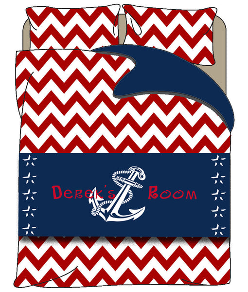 Custom Personalized Bed Runner - Scarf - Navy & White Anchor  - 3 bedding sizes