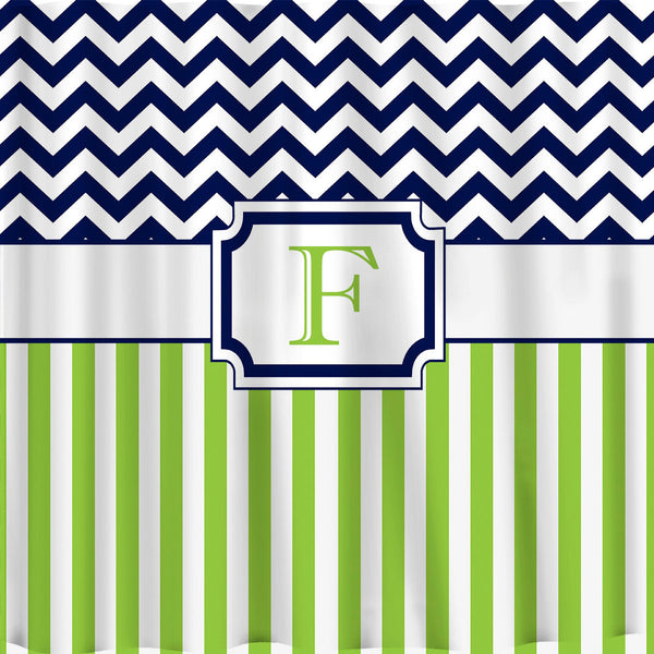 Custom Personalized Chevron Shower Curtain top Chevron and vertical stripes on the bottom.