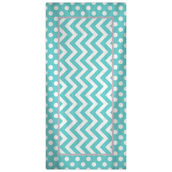Personalized Custom Beach Towel --Aqua & White Polka Dots - Color and Personalization of your choice