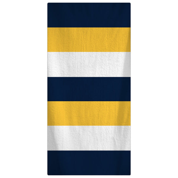 Custom Personalized Beach Towel -  Rugby Stripe Navy-Yellow-White Pattern - Personalization of your choice