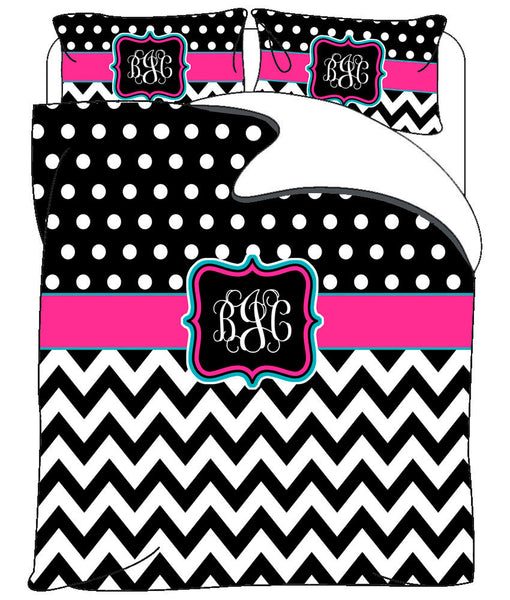 Custom Personalized Chevron & Polka Dots Duvet Cover -Available Tw-FQu-King Sizes - Color Black any accent colors