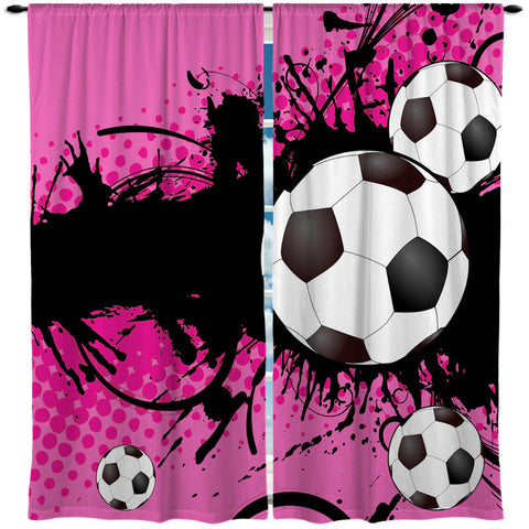 Custom Window Curtain, Soccer Girls Theme Shown in Hot Pink and Purple Options - Any Size - Any Colors - Any Pattern
