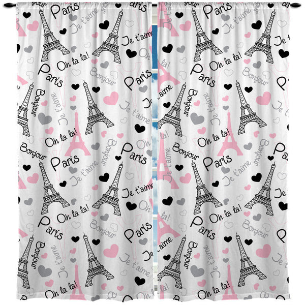 Custom Window Curtain, I Love Paris Eiffel Towers and words Pink Accent - Any Size - Any Colors - Any Pattern