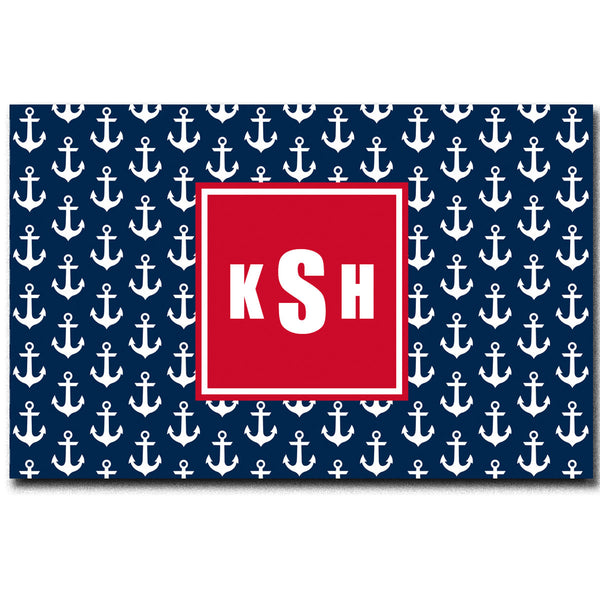 Personalized Navy and White Anchor Plush Fuzzy Area Rug -Size 48x30, 60x48, 96x44. 96x60
