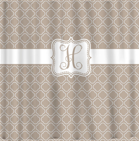 Custom Personalized Trellis-Lattice Shower Curtain - your colors - shown Khaki and White - Standard or Ex Long Size