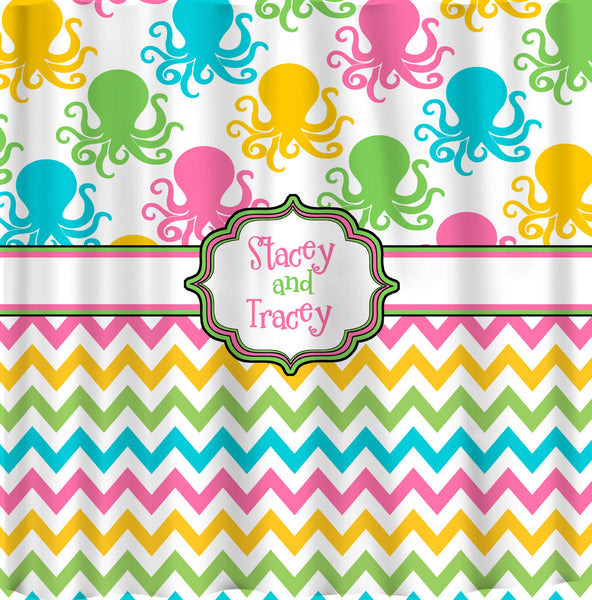 Multi-Color Octopus and Chevron Shower Curtain -Hot Pink, Lime, Turquoise, Yellow and White Combination