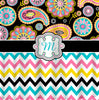 Personalized  Designer Gypsy Paisley  & Chevron Shower Curtain Black, turquoise, PINK and lime - Personalized Your Initial(s) and/or names