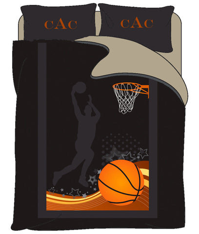 Monogrammed Basketball bedding- Jumpshot - Personalized with your initials - Twin, Queen, King and Toddler Size