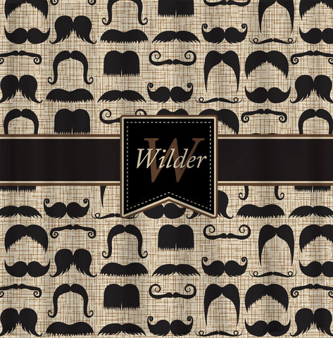 Custom Personalized Shower Curtain - Custom with your Name or Initials - Vintage Mustache & Stripes - Standard or Ex Long
