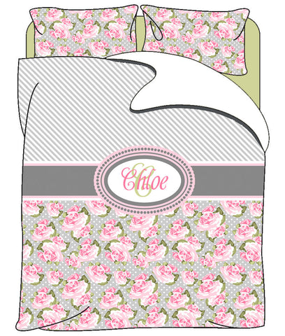 Personalized Custom Pretty In Pink Roses & Stripes  Duvet Cover with pillowcovers - Available Twin, Queen or King Size