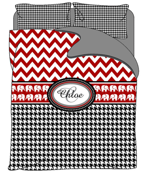Custom Red Chevron & Black Houndstooth Bedding -With Elephant Accent Theme Inspired - Avail Toddler Twin, Queen. King and CA King