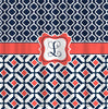 Shower Curtain - Inspiration Tile and Mediterranean Patterns - Shown in Navy or Taupe-White-Coral -Any colors of your choice