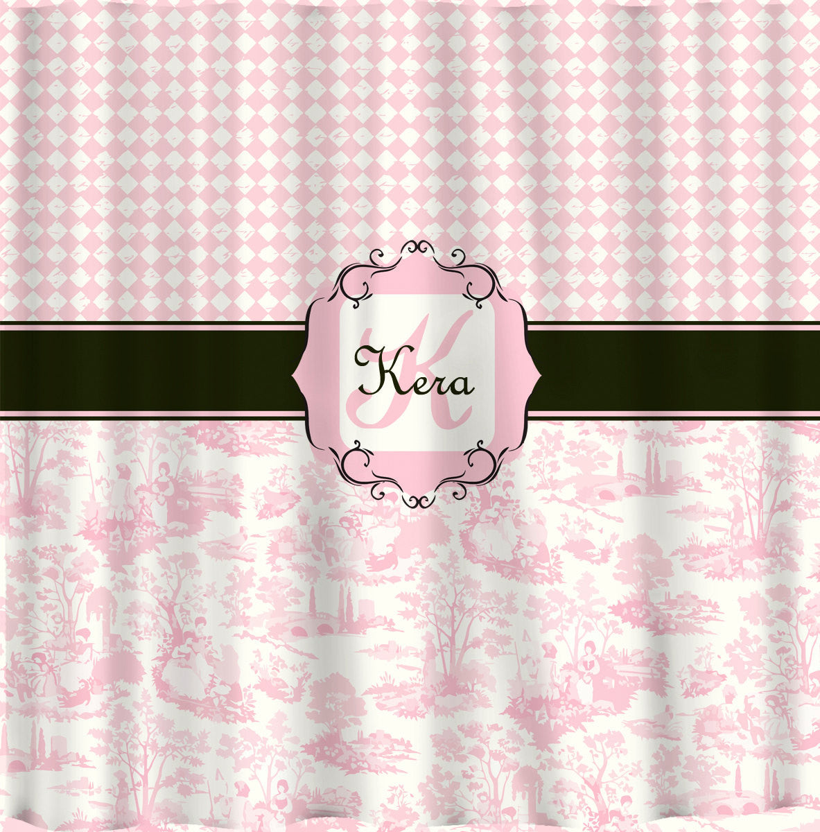 Personalized Shower Curtain Custom With Your Name Or Initials Diamonds And Pink Toile Combo