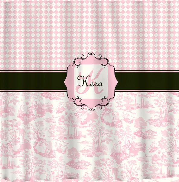 Personalized Shower Curtain -Custom with your Name or Initials -Diamonds and Pink Toile Combo