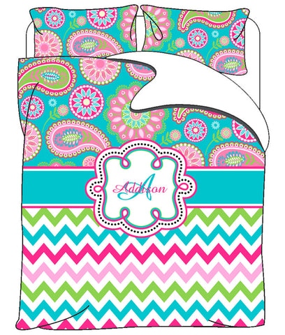 Personalized Custom Gypsy Paisley & Chevron Duvet Cover or Comforter with pillowcovers - Available Twin, Queen or King Size