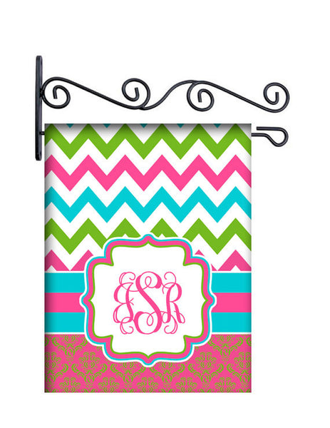 Summer Chevron & Damask Personalized Yard Flag