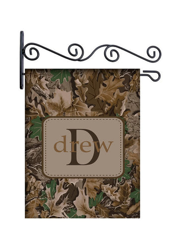 Camo Leaves Custom Personalized Yard Flag - 13.5 by 18.5 inches - your name and or initial