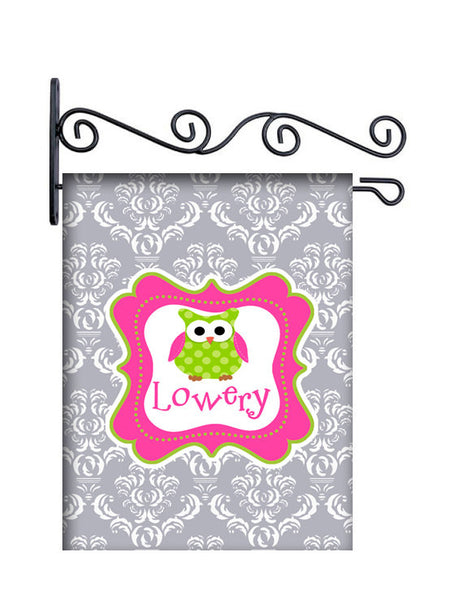 Grey Damask & Owl Personalized Yard Flag