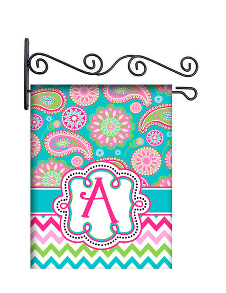 Gypsy Paisley Pink & Turquoise Personalized Yard Flag