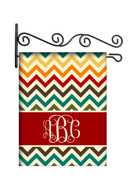 Warm Chevron Personalized Yard Flag
