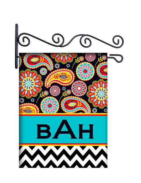 Gypsy Paisley Black Personalized Yard Flag