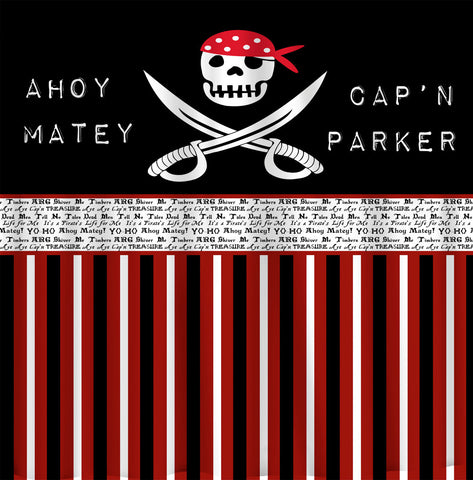 Custom Personalized Shower Curtain - Custom with your Name or Initials - Pirate Theme - Standard or Ex Long