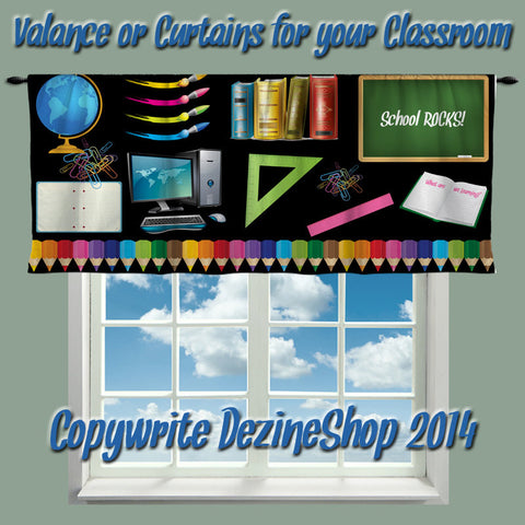 Custom School Rocks Valance or Window Curtain for your Classroom- Any Size - Any Colors