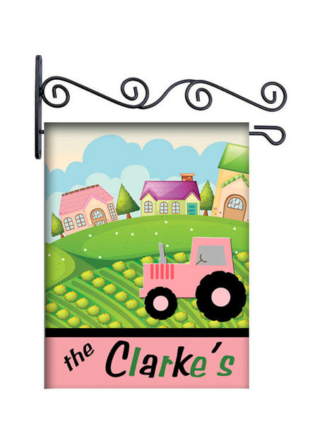 Pink Tractor Farm Hill Personalized Yard Flag
