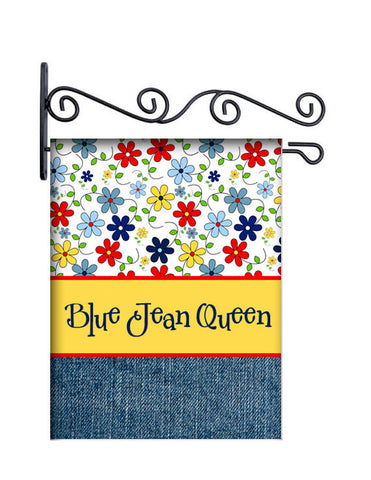 Blue Jean Queen Custom Personalized Yard Flag - 13.5 by 18.5 inches - your name and or initial