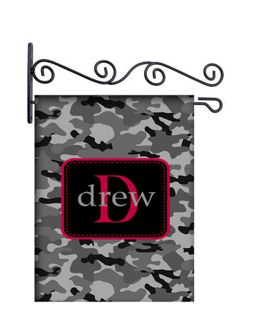 Camo Grey & Black  Custom Personalized Yard Flag - 13.5 by 18.5 inches - your name and or initial