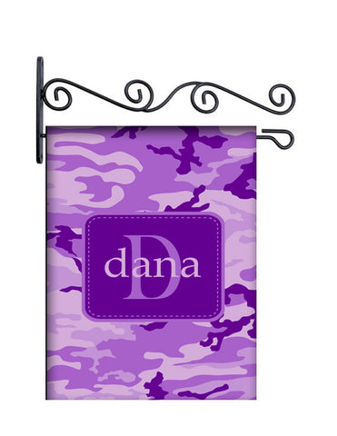 Camo Purple Custom Personalized Yard Flag - 13.5 by 18.5 inches - your name and or initial