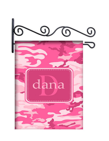 Camo Pink Custom Personalized Yard Flag - 13.5 by 18.5 inches - your name and or initial